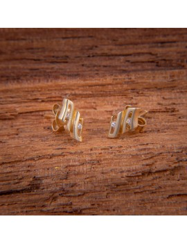 Złote ORYGINALNE Kolczyki Sztyft pr585 CYRKONIA