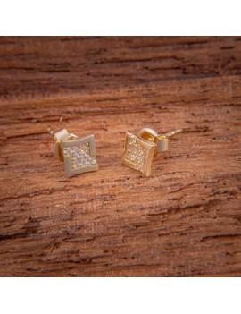 Złote Kolczyki Sztyft 585 PROSTOKĄTNE z CYRKONIAMI