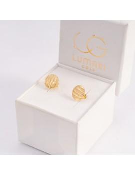 Złote Kolczyki Sztyfty Okrągłe z Nacięciami
