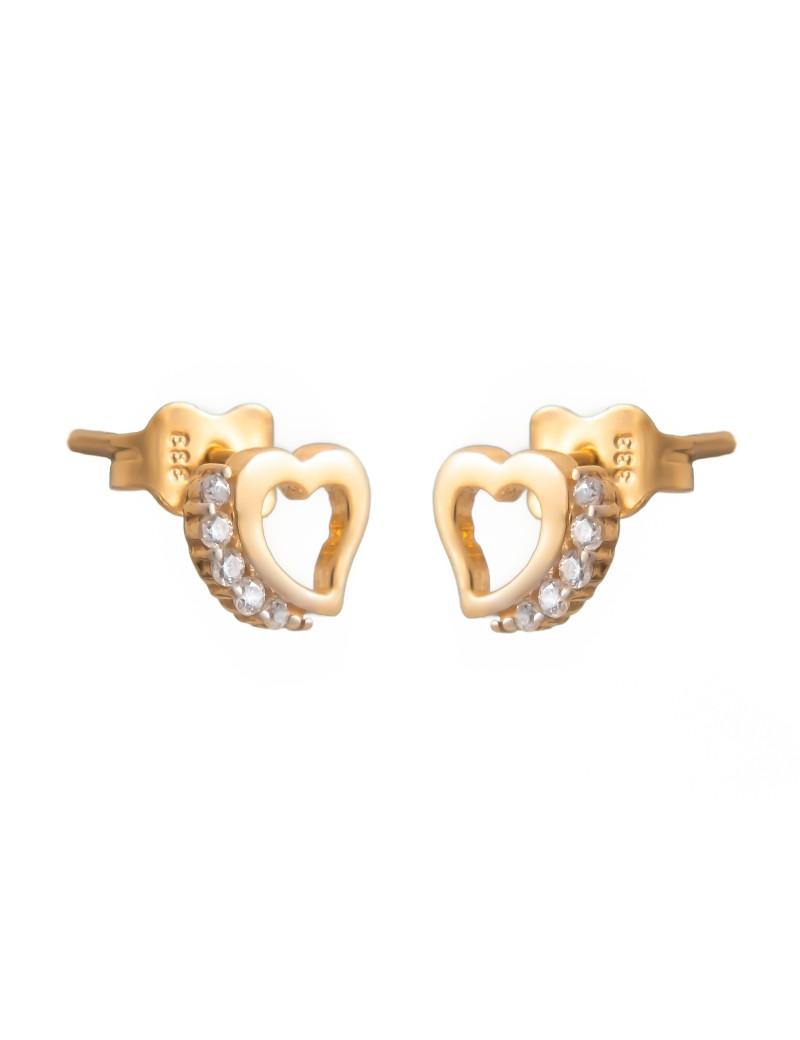 Złote DZIECIĘCE Kolczyki Sztyft pr333 SERDUSZKA