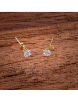 Złote DZIECIĘCE Kolczyki Sztyft pr585 z CYRKONIĄ