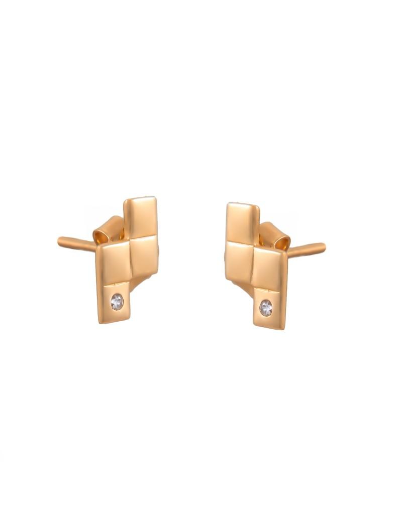 Złote Kolczyki Sztyfty Tetris z Cyrkonią