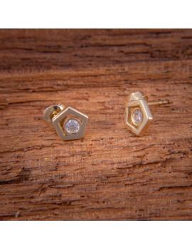 Złote Kolczyki Sztyft pr585 PIĘCIOKĄTY CYRKONIA