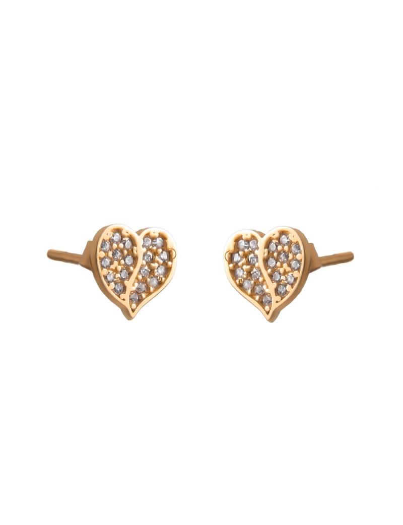 Złote Kolczyki Sztyfty Piękne Serce Cyrkonie