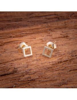 Złote DZIECIĘCE Kolczyki Sztyft pr585 KWADRAT