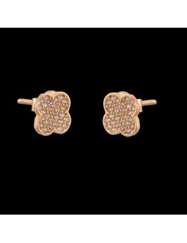 Złote Kolczyki Sztyft 585 PIĘKNE KWIATKI Cyrkonie