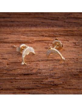 Złote Kolczyki Sztyfty Delfiny Cyrkonie