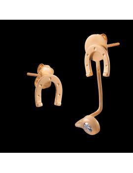 Złote Kolczyki Sztyft pr585 NIETYPOWE PODKOWY