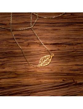 Złoty Naszyjnik Celebrytka Ażurowy Liść