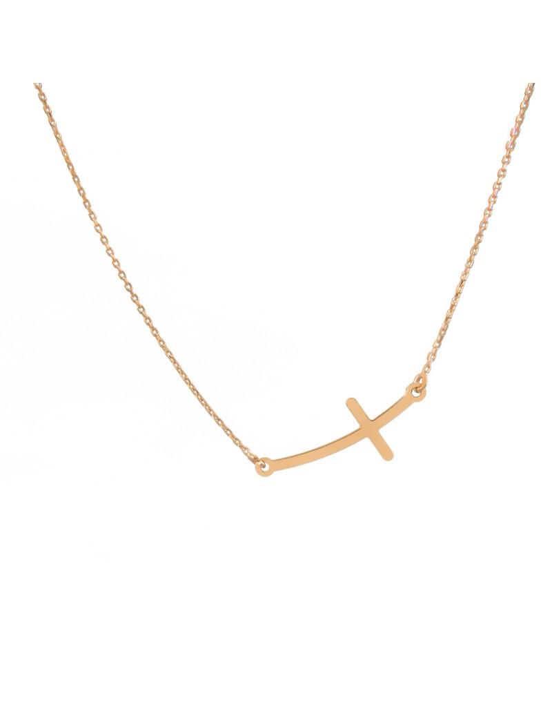 Złoty Naszyjnik Celebrytka Leżący Krzyżyk