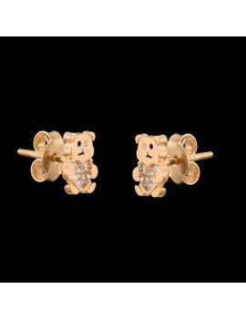 Złote DZIECIĘCE Kolczyki Sztyft 585 MODNE MISIE