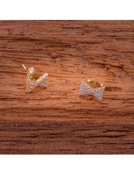 Złote Kolczyki Sztyft pr333 KOKARDKI z CYRKONIAMI