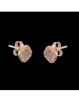 Złote Kolczyki Sztyft pr333 KWADRATY z CYRKONIAMI