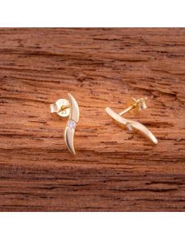 Złote Podłużne Kolczyki Sztyfty Cyrkonia