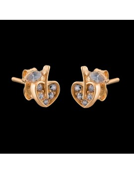 Złote DZIECIĘCE Kolczyki pr585 SERCE Cyrkonia