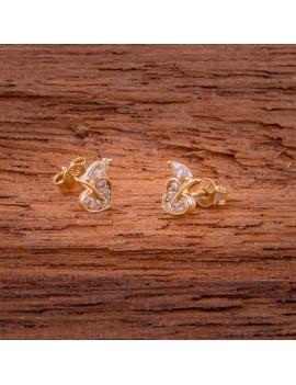 Złote Kolczyki Sztyfty Serce Cyrkonia