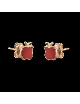 Złote Dziecięce Kolczyki Sztyfty Kolorowe Jabłko