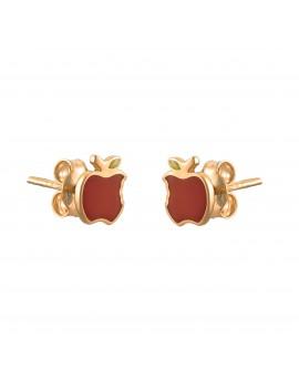 Złote Kolczyki Sztyfty Kolorowe Jabłko