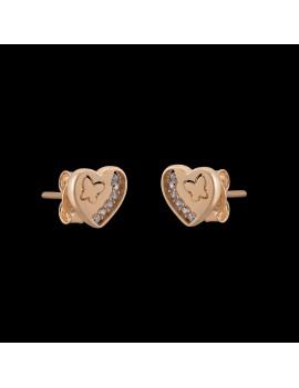 Złote Kolczyki Sztyfty Serce Motyl