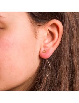 Złote Wiszące Kolczyki Przeciągane Przez Ucho Serce