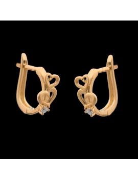 Złote Oryginalne Kolczyki Dwa Serca Cyrkonie