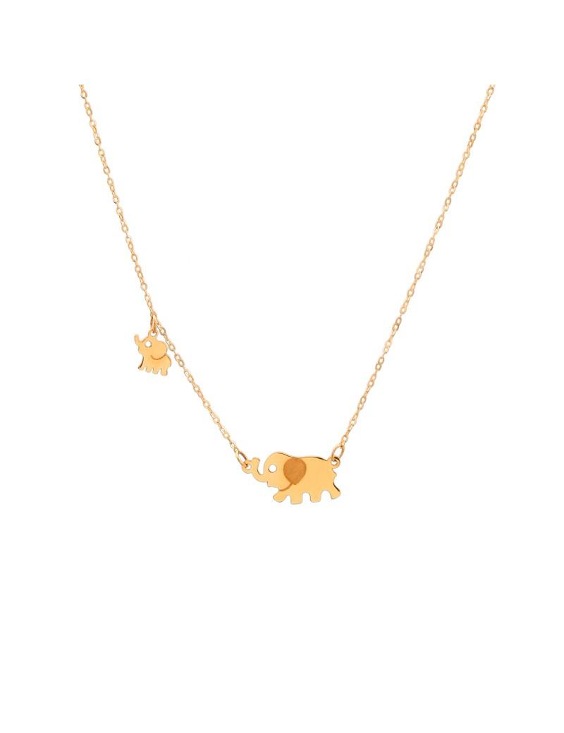 Złoty Naszyjnik Celebrytka Słoń Na Szczęście