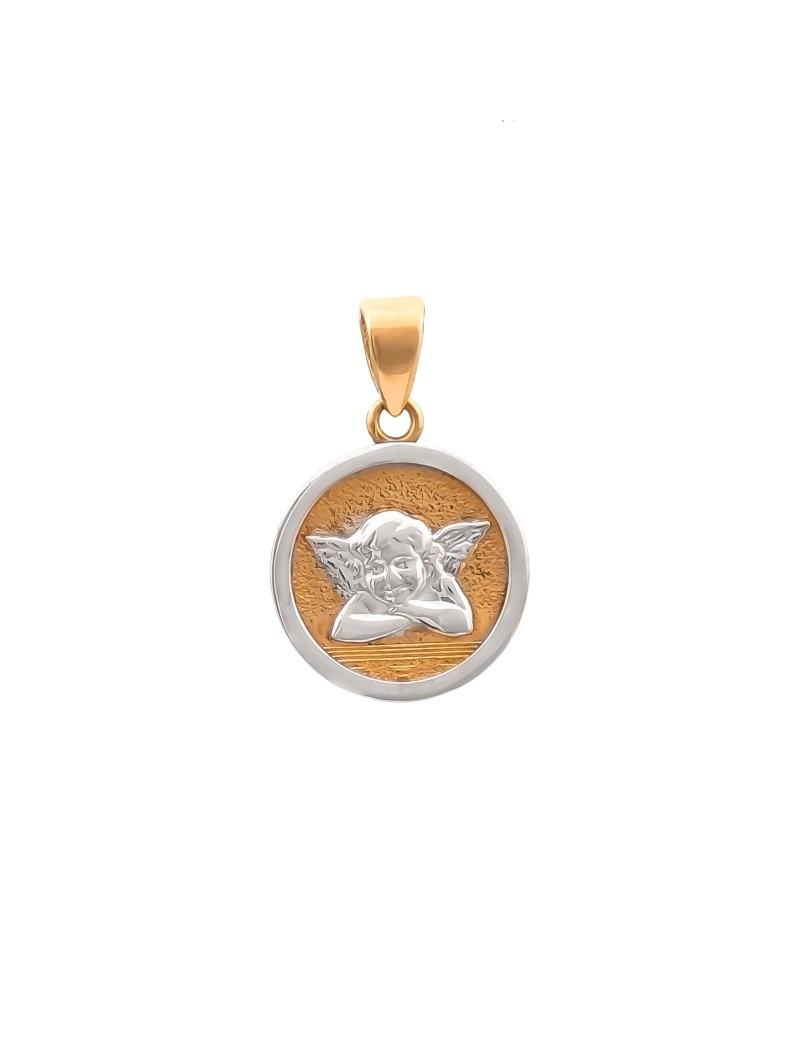 Złoty Subtelny Medalik Aniołek Z Białym Złotem