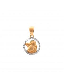 Złoty Okrągły Medalik Aniołek Z Białym Złotem