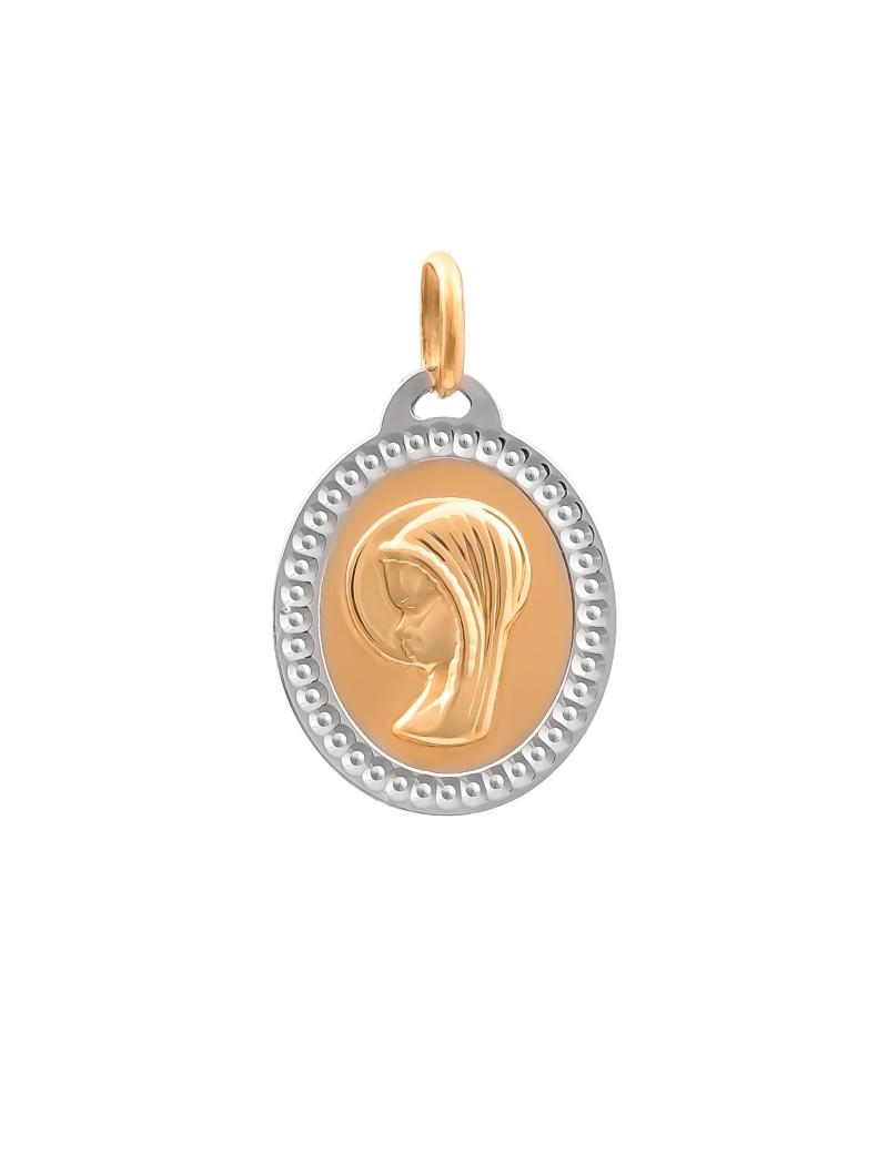 Złoty Medalik Matka Boska z Białym Złotem