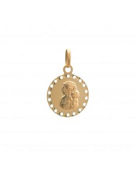Złoty Okrągły Medalik Z Matką Boską
