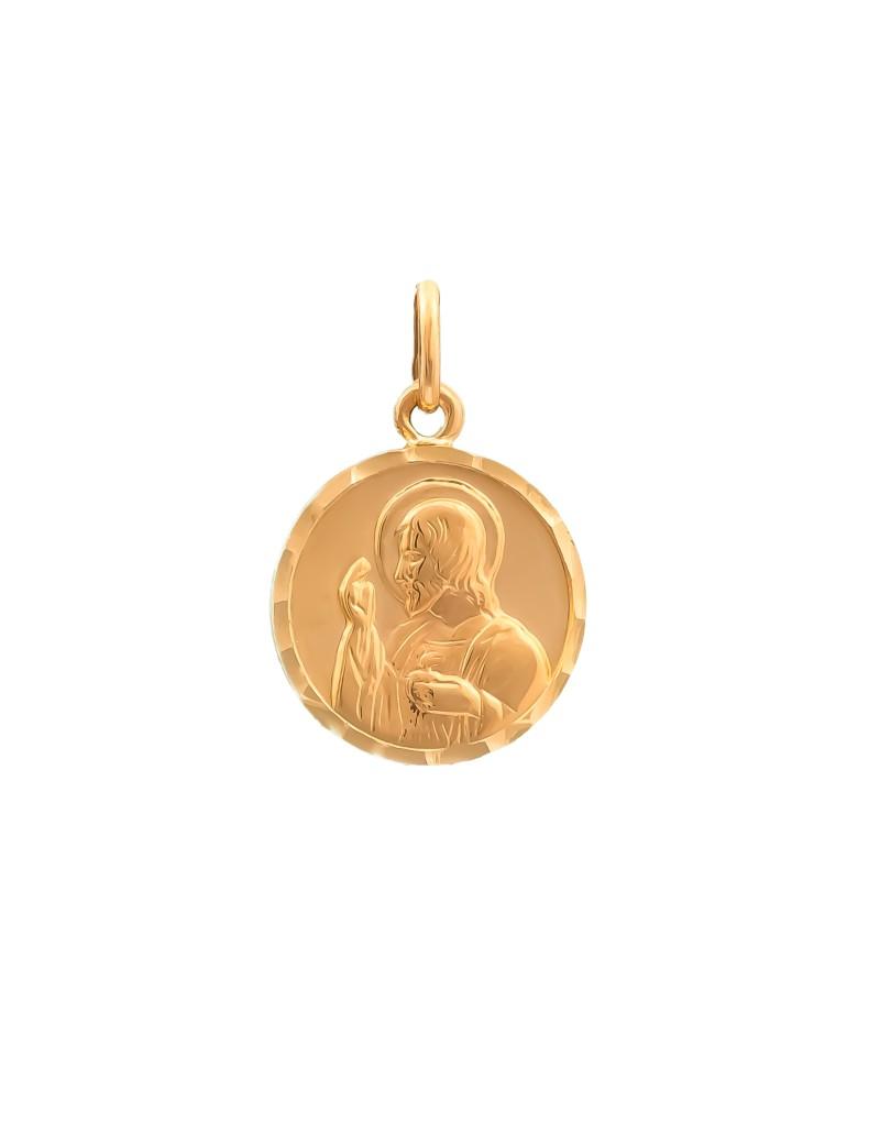 Złoty Dwustronny Medalik Matka Boska Jezus