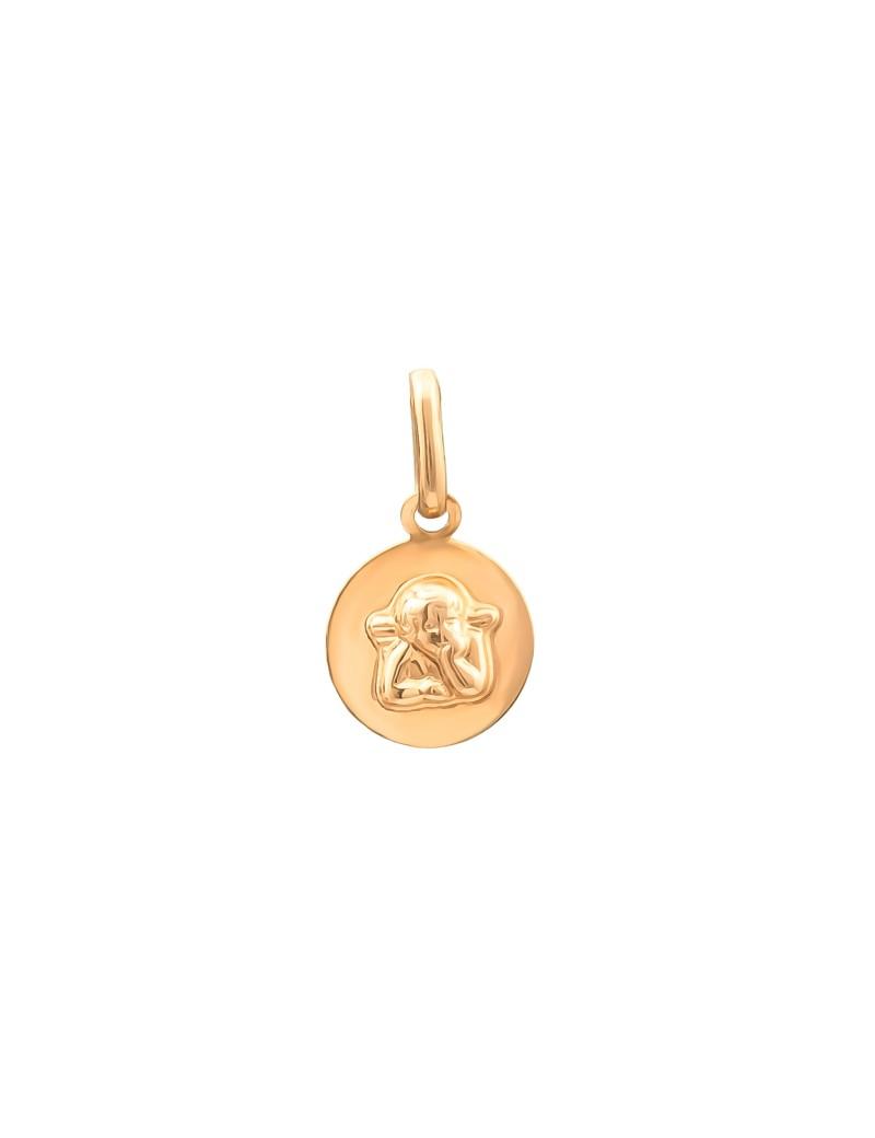 Złoty Okrągły Medalik Aniołek Chrzest Komunia