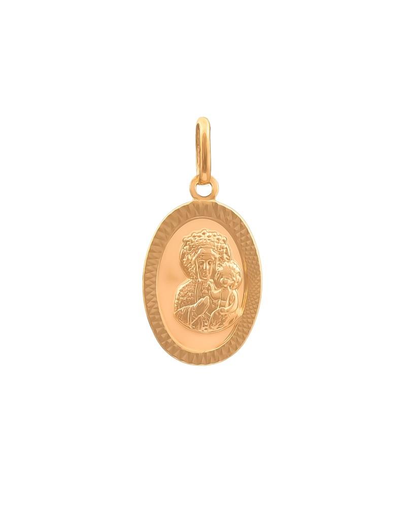 Złoty Owalny Medalik Matka Boska