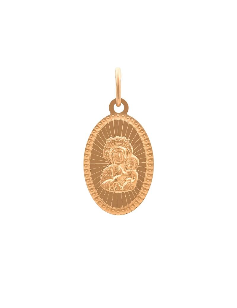 Złoty Owalny Medalik pr585 Matka Boska PREZENT