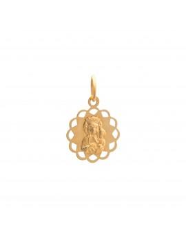 Złoty DELIKATNY Medalik pr585 KWIATEK Matka Boska