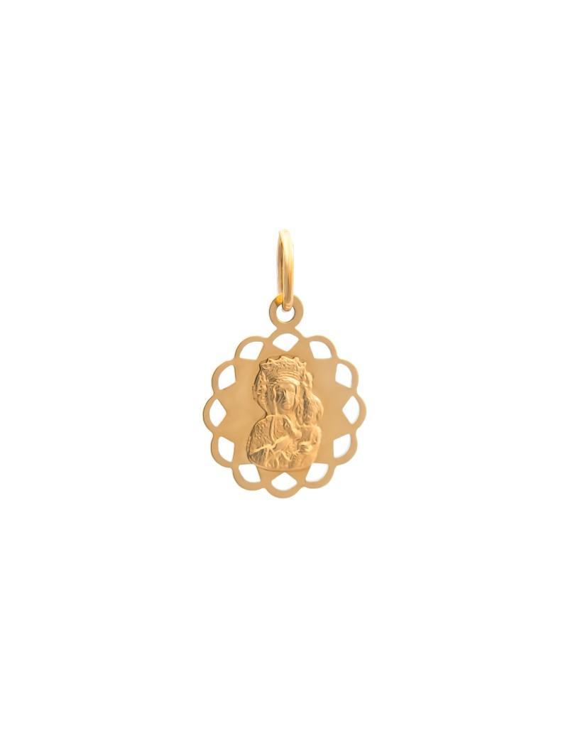 Złoty Medalik Kwiatek Matka Boska Na Prezent
