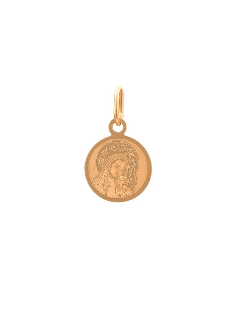 Złoty Medalik Matka Boska Chrzest Komunia
