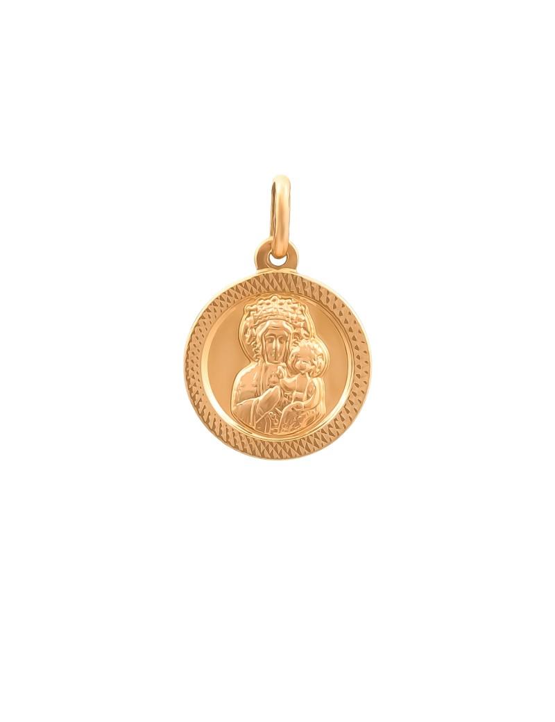 Złoty Okrągły Medalik Matka Boska Chrzest Komunia
