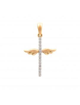 Złoty Krzyżyk Skrzydła Anioła Cyrkonie