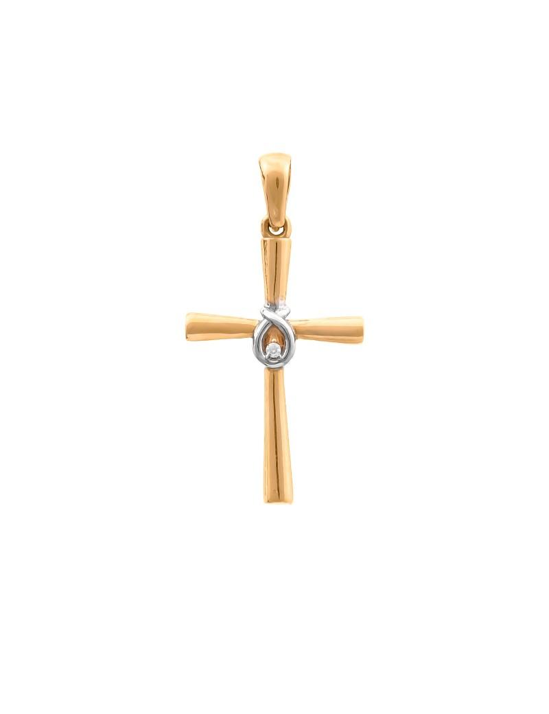 Złoty Krzyżyk pr585 Dwu Tonowe Złoto Cyrkonia