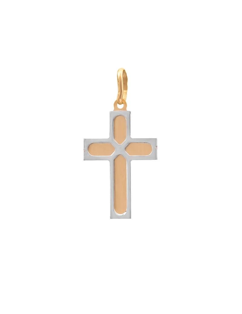 Złoty ORYGINALNY Krzyżyk pr585 z BIAŁYM ZŁOTEM