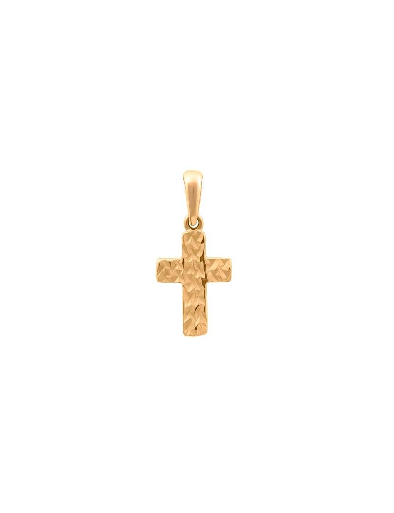 Złoty Delikatny Nacinany Krzyżyk