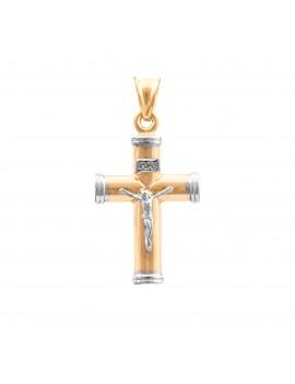 Złoty Duży Krzyżyk Z Białym Złotem