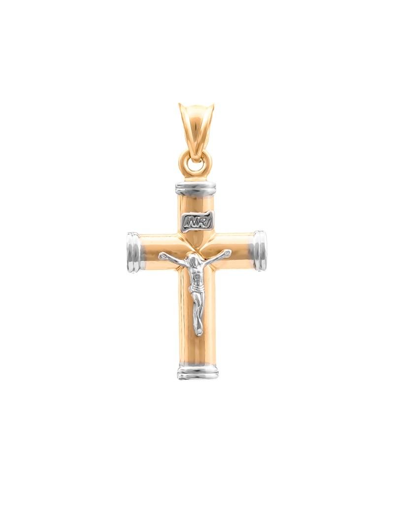 Złoty DUŻY Krzyżyk pr585 Z Białym Złotem