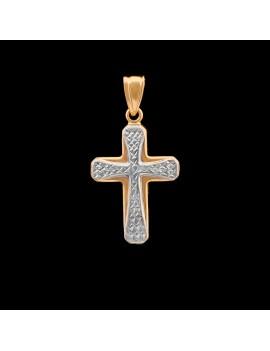 Złoty Krzyżyk pr333 z Białym Złotem na PREZENT