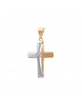 Złoty Krzyżyk Białe Złoto Cyrkonie