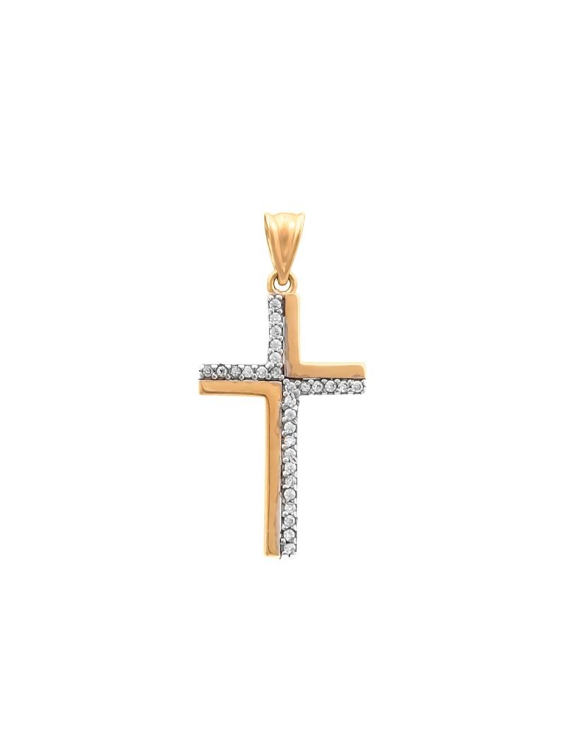 Złoty Krzyżyk Z Cyrkoniami Na Prezent