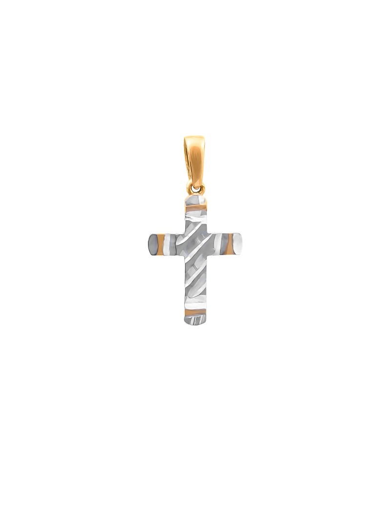 Złoty DELIKATNY Krzyżyk pr585 Białe Złoto PREZENT