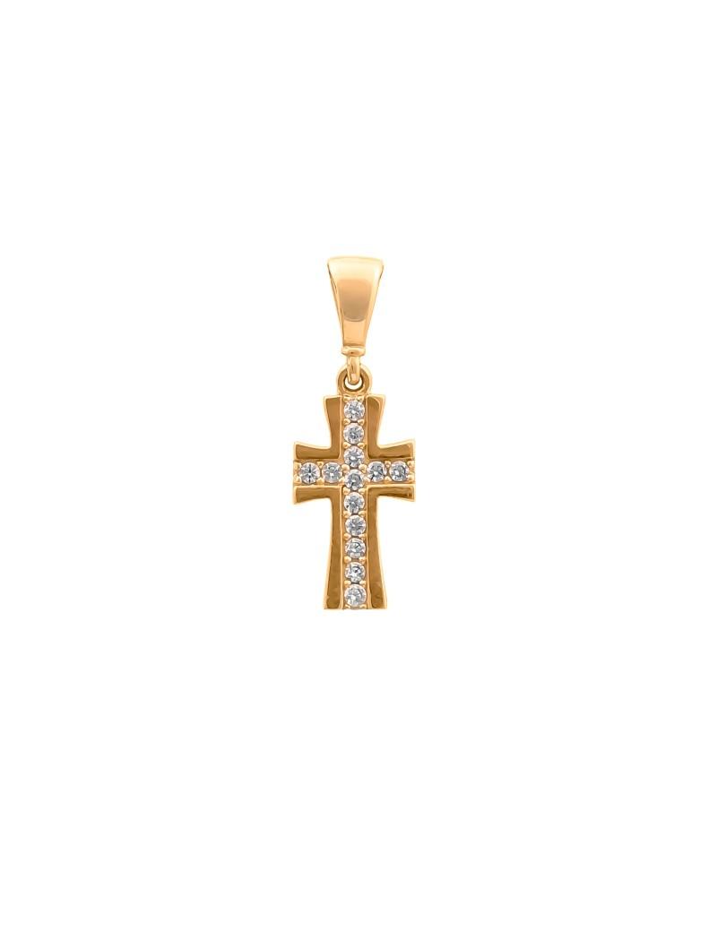 Złoty Delikatny Krzyżyk Z Cyrkoniami