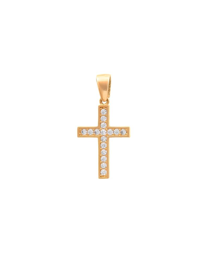 Złoty Krzyżyk pr585 KLASYK z Cyrkoniami